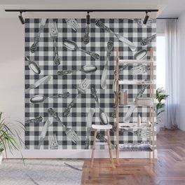 Utensils on Black Picnic Blanket Wall Mural
