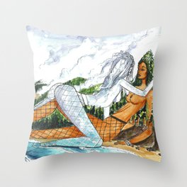PNW Fishnets - Earth and Sky Goddess Kiss Painting Throw Pillow