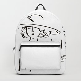 Abstract retro portrait of man and woman Backpack