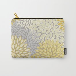 Floral Prints, Soft Yellow and Gray, Modern Print Art Carry-All Pouch