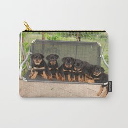 Six Rottweiler Puppies Lined Up On A Swing Carry-All Pouch