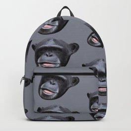 jungle animal ape grey and black chimpanzee Backpack