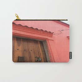 Cartagena is Peachy, Colombia, South America. Coral Pink Building with Ornate Lizard design Carry-All Pouch