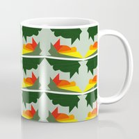 ships Mugs featuring Burning Ships by Mimi