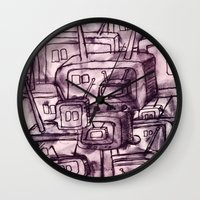 cartoons Wall Clocks featuring Saturday Morning Cartoons 2: TV Print by Kayleigh Morin