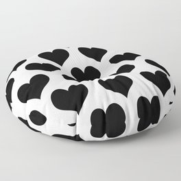 White And Black Heart Minimalist Floor Pillow