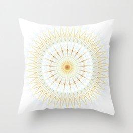 Gold White And Blue Mandala Throw Pillow
