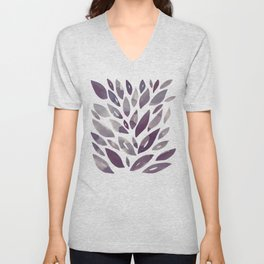 Watercolor floral petals - purple and grey Unisex V-Neck