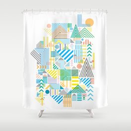 Geometric Mountain Landscape Shower Curtain