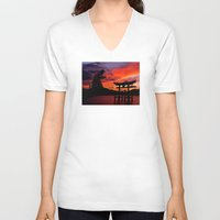 godzilla V-neck T-shirts featuring Godzilla by Danielle Tanimura