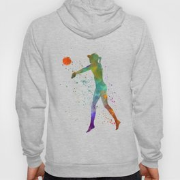 Woman volleyball player in watercolor Hoody