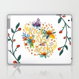Read More Books - Floral Gold Laptop & iPad Skin