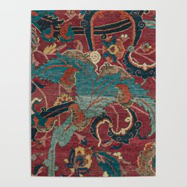 Flowery Arabic Rug I // 17th Century Colorful Plum Red Light Teal Sapphire Navy Blue Ornate Pattern Poster
