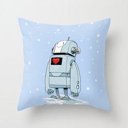 Robot Love Snow Throw Pillow