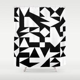 English Square (Black & White) Shower Curtain