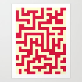 Cream Yellow and Crimson Red Labyrinth Art Print