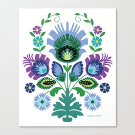 Polish Folk Flowers Blue Canvas Print