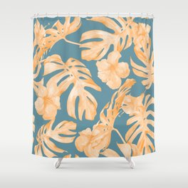 Island Hibiscus Palm Coral Teal Blue Shower Curtain