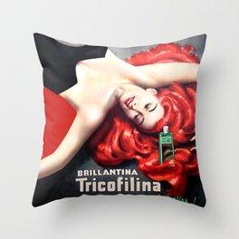 Vintage Brillantina Tricofilina Throw Pillow