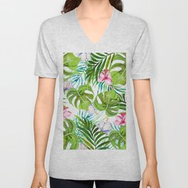 Modern tropical pink lilac green watercolor floral Unisex V-Neck