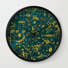 Golden Grunge  Musical notes pattern on teal Wall Clock