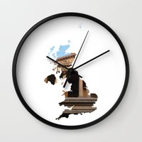 england Wall Clocks featuring England by Isabel Moreno-Garcia