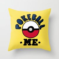 pokeball Throw Pillows featuring pokeball me by benjamin chaubard