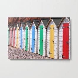 Colourful Beach Huts Metal Print