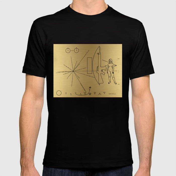 We Come With Piece (Pioneer probe plaque) by Dan Levin T-shirt