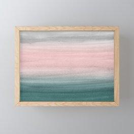 Touching Teal Blush Gray Watercolor Abstract #1 #painting #decor #art #society6 Framed Mini Art Print