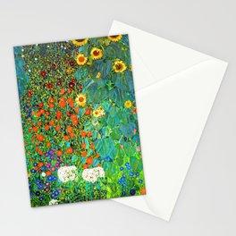 Gustav Klimt Garden with Sunflowers Stationery Cards
