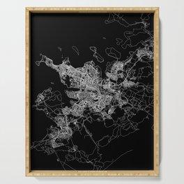 Reykjavik Black Map Serving Tray