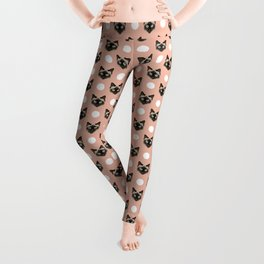 Telli - Siamese cat cute funny cat lady art print pattern polka dots with cats Leggings