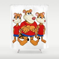 tigers Shower Curtains featuring Tigers cartoon by MaxiHarmony