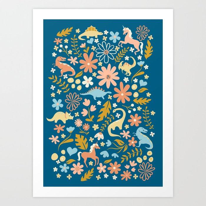 Dinosaurs + Unicorns in Blue + Coral Art Print