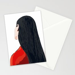 White and Red Girl with Long Hair Minimalist Vector Illustration Portrait Stationery Cards