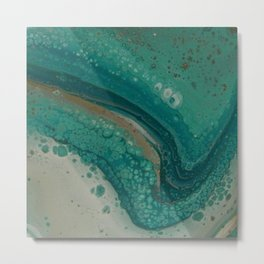 Sea Foam, Abstract Fluid Acrylic Paint Metal Print
