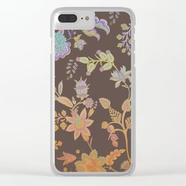 Chateau Brown Chinoiserie Decorative Floral Motif Chintz Clear iPhone Case
