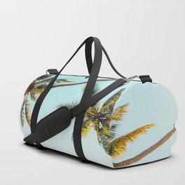 Two Green Tropical Palm Trees Blue Sky Beach Trees Caribbean Vibes Duffle Bag