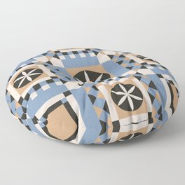Geometric seamless ornament with a mosaic pattern in the Scandinavian style of Hugge blue and white color. Floor Pillow