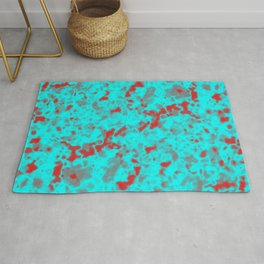 A interweaving cluster of light blue bodies on a red background. Rug