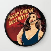 peggy carter Wall Clocks featuring Peggy Carter Goes West by Arne AKA Ratscape