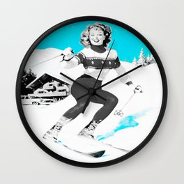 Snow Bunny Pin Up Girl Turquoise Wall Clock