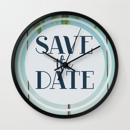 Save the Date Tropical Palms. Wall Clock