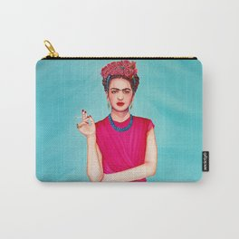 Frida wearing band of flowers Carry-All Pouch