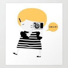 The blonde photographer Art Print