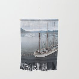 Sailing Ship in front of a Mountain Valley in Norway Wall Hanging