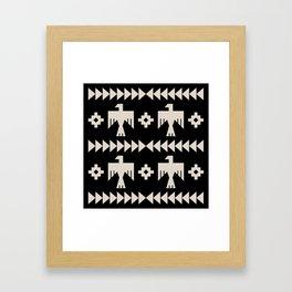 Southwestern Eagle and Arrow Pattern 121 Black and Linen White Framed Art Print