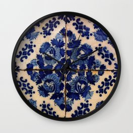 Blue old portuguese tile Wall Clock