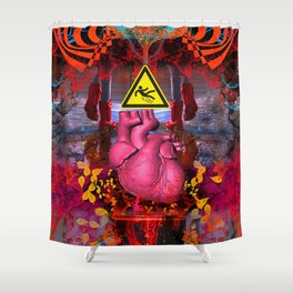 Footprints Tread Messily Upon Leaky Hearts Shower Curtain